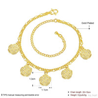 Wholesale 24k Ladies Plating Jewelry - European and American Fashion Anklet Five Flower Charms Ankets 24K Gold Plated Gold Jewelry Lady Accessories