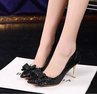 Barato Vestidos De Salto-Sexy 5 cores diferentes Sequined mulheres apontou Toes Night Club High Heels Moda Ladies Dress Shoes 7 cm e 10 cm