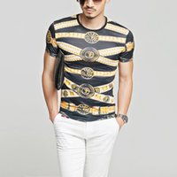 Wholesale Slim Fit Camisas - 2017 New Arrival Strip Gold and Black Luxury Brand T shirt For Men Slim Fit Baroque Mens Tee Shirt Social Royal Camisas Coins