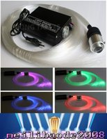 Wholesale Optics Kits - RGB colorful LED plastic Fiber Optic Star Ceiling Kit Light 150pcs 0.75mm 2M+16W RGB optical fiber Lights Engine+24key Remote MYY168