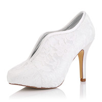 Wholesale Heel Pumps China - 2017 New Lace Bootie Dyeable Satin Wedding Dress shoes Platform White Color Wholesale Women Bridal Wedding Shoes Made in China