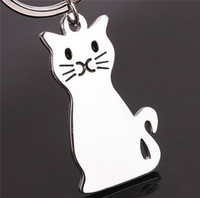 Wholesale Cute Cat Keychains - Metal Cat Keychains Cute Style Unique Animal Keyrings Women Bag Accessory Personalized Car Key Holder