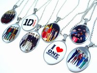 Wholesale One Piece Pendant - Brand New 20 pieces one direction 1D stainless steel pendant necklaces Kids Children's party favor gift Jewelry wholesale mixed lots