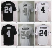 Wholesale Footballs Oakland - Oakland #4 Derek Carr 24 Charles Woodson American College Football Stitched Embroidery Elite Mens Sports Color Rush Team Jerseys For Sale