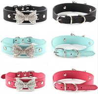 Wholesale Bling Dog Collar Personalized - Dog Collar Bling Personalized Pet Dog Collars with Buckle Puppy Cat Necklace Rhinestone Letters Charms G1015