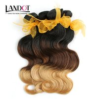 3Pcs Lot 8-30 Inch Two Tone Ombre Extensions de cheveux humains cambodgiennes Body Wave Color 1B / 27 # Blonde Ombre Cambodgian Virgin Hair Weave Bundles