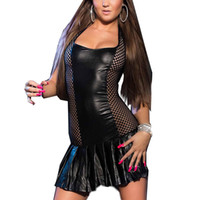Привлекательные 4 цветные женщины Sexy Vinyl Faux Leather Halter Mini Party Dress Fishnet Splice Pole Dance Dress M L W207973