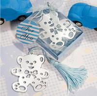 ayı imi toptan satış-DHL Ücretsiz düğün hediyeleri şekeri paslanmaz çelik Küçük Püskül Bebek Duş ile Sevimli ayı Imi Bookmark hediyelik imi