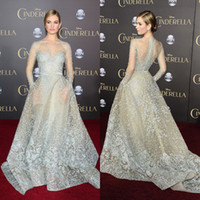 Wholesale Cinderella Plus Prom - Cinderella Lily James In Elie Saab Celebrity Dresses Sheer Jewel Neck Long Sleeves Lace Prom Gowns Red Carpet Appliqued Tulle Evening Dress