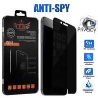 manzana espía al por mayor-Privacidad Vidrio templado para iPhone X XS Max XR 8 8 Plus Protector de pantalla anti-espía 9H Dureza Vidrio templado para Samsung J3 J7 Prime In Box