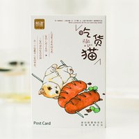 Wholesale pack Cute Cat On A Diet Postcard Greeting Gift Christmas Cards Birthday Card Letter Envelope Gift Card