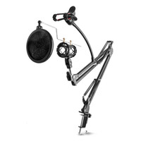 Wholesale Desktop Mic - Adjustable Desktop Mic Stand Microphone Holder Suspension Boom Scissor Arm Mount Shock Stand Cell Phone Holder