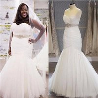Wholesale mermaid wedding gowns china resale online - Plus Size Tulle Mermaid Wedding Dresses Real Photos Sweetheart Pleats Beaded Sash Floor Length Bridal Gowns Custom Made China EN9141