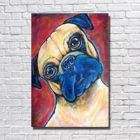 büyük sanat eserleri boyuyor toptan satış-Hayvan Sanat Modern Köpek Yağlıboya Büyük Tuval Sanat Oturma Odası Duvar Dekor Ucuz Modern Hayvan Yağlıboya Yok Çerçeveli
