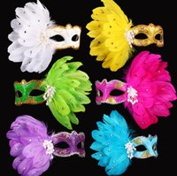 Wholesale Wholes Sale Masks - Whole Sale Colorful Carnival Lady Adult Masquerade Holloween Beautiful Feather Pearl Eye Mask