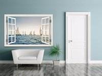 Wholesale Boat Television - 3D Window View Wall Sticker Sailing Boat on Sea Wall Art Removable Wallpaper PVC Mural Decal Home Decor Living Room