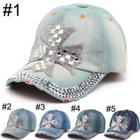 Wholesale Rhinestone Hats For Women - 2016 Summer New Fashion Designer Cross Rhinestone Hats Women Denim Sun Hats Super Quality Outdoor Sport Hat Baseball Hats Caps for Lady