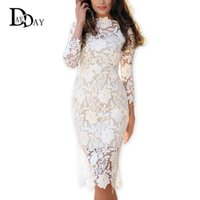 Wholesale floral bodycon midi dress - 2016 Summer Women White Lace Dresses Bodycon Floral Crochet Lace Long sleeve Midi Elegant Sheath Pencil Party Dresses S147163