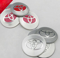 Wholesale Wheel Cap Decals - 4pcs lot Red & Silver 65mm Toyota badge Decal wheel center hub caps emblem stickers Car styling Free shipping