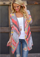 Women Spring New Cardigan Boho Outwear Knitted Jacket Coat Tops Loose Sweater Casual Striped Tops Clothes for Female