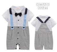 Wholesale False Baby - New style summer style Baby kids cute Gentleman short sleeve False straps garment bow tie boy stripe and dot romper 100% cotton kids romper