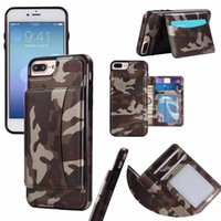 Wholesale Iphone Back Pocket - Card Pocket Camouflage Wallet Leather Case Fitted Back Cover with ID Credit Card Slot Holder For iPhone X 8 7 6S Plus Samsung S8 Plus Note 8