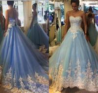 hellblaues ärmelloses hochzeitskleid großhandel-Sexy Brautkleider Ärmel plus Größen-Kleid für Hochzeit nach Maße Light Blue Brautkleider 2019 A Line SpitzeApplique