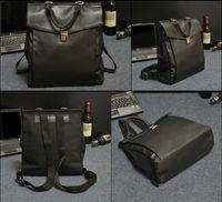 sacos de lona de couro mens mochila venda por atacado-2016 Moda Vintage Mens Canvas + PU Mochila De Couro Sacos Do Mensageiro Briefcase13 polegada Bolsa Para Laptop