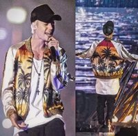 chaquetas baseball mulher venda por atacado-Justin Bieber homens jaqueta de moda Palm coco padrão de impressão casual mulheres de beisebol jaqueta bomber casaco chaquetas mujer