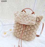 Wholesale Handmade Bags Korea - Korea Japan Style Summer Women Straw Backpack Handmade Rattan Beach Bag Vines Beach Knitting Bag Women Drawstring Bags