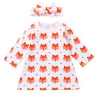 Wholesale newborn winter dresses - Fashion Baby Girl Dress Newborn Baby Girls Pajamas Cotton Fox Dress Headband Outfit Cute Sets Clothes