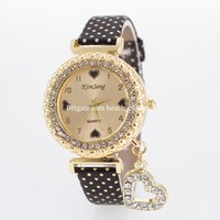 Wholesale Wholesale Peach Watch - New popular ladies women watches bracelets peach heart pendant quartz bracelet luxury watches diamonds Wristwatches gift Fashion Accessories