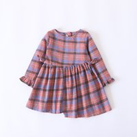 Wholesale Korean Winter Style Clothing - Everweekend Girls Bow Plaid Ruffles Dress Cute Baby Candy Color Clothes Princess Korean Fashion Autumn Cotton Clothing