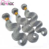 Wholesale wavy permed hair - 100 Brazilian Human Hair Weft Weaves bundles Unprocessed Body Wave Gray Hair Weaves Sliver Grey Wavy Hair Weft Extensions