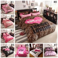 Wholesale Leopard Print Duvets - Pink Letter Bedding Set VS Pink Leopard Soft Printed Duvet Cover Bed Sheet Pillowcases Bed Sheets 4PCS OOA2767