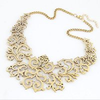 Wholesale Retro Miao Collar Necklace - New exaggerated retro hollow carved short chain geometrical collar necklace sweater free shipping