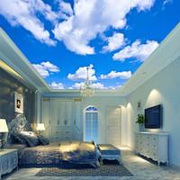 wandgemälde wohnzimmer großhandel-Blauer Himmel weiße Wolke Wallpaper mural Wohnzimmer Schlafzimmer Dach Decke 3D Wallpaper Decke große Sternenhimmel Wallpaper