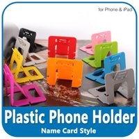 Wholesale tablet stand plastic card resale online - Colorful Portable Plastic Folding Stand Mount Holder Name Card Style Adjustable Cell Phone Holder For iPhone iPad Tablet