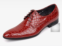 ingrosso abbigliamento scuro-Scarpe da lavoro in pelle da uomo stile italiano fatte a mano, punta tonda, alligatore marrone scuro, pantaloni casual, taglia 38-44