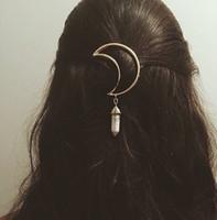 ingrosso clip di primavera ornamento-Europa e Stati Uniti gioielli primavera e l'estate marea ornamenti per capelli lega luna esagonale ciondolo accessori per capelli clip di capelli beautifu