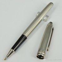 stationäre clips großhandel-Luxus Stift P163 Silber Blume Stift Rose / Golden / Silber Clip stationäre mb Roller Kugelschreiber mit Seriennummer