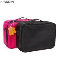 Wholesale Largest Bag - Hhyukimi Double Layer Makeup Organizer Bag Professional Beautician Cosmetic Case Largest Travel Portable Waterproof Handbag