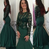 Compra Lungamente Abito Su Misura Di Promenade-Emerald Hunter Green Mermaid Pageant Prom Dresses con manica lunga 2018 Lace Stain Custom Dress Dress Wear da sera a coda di pesce