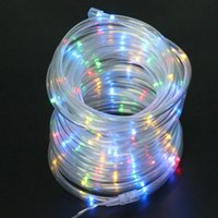 Vente en gros - 12M Solar Powered Rope Tube Fairy String Light 100LED Outdoor Jardin de Noël Noël Fête de mariage Décoration d'arbre lampe flexible