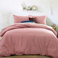 100% Cotton Knitted Home Home textile 100%High Quality Cotton knitting Gingham 4 piece Consort Red bedding sets queen size king size duvet cover bed sheet pillowcas