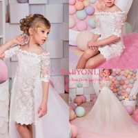 Wholesale Two Piece Cute Short Dresses - 2017 Cute Two Pieces High Low Girl's Pageant Dresses Off Shoulders Lace Half Sleeves Short Flower Girl's Dresses with Removable Overskirts