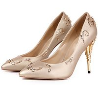 Wholesale Floral Dress Accessories - Women dress eden heel party Pumps Shallow Pointed Toe Thin Heels New Wedding bridal high heels Shoes accessories Women Shoes