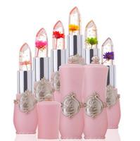 flower jelly lipstick toptan satış-Uzun Ömürlü Nemlendirici Altın Çiçek Jöle Ruj Şeffaf Su Geçirmez Sıcaklık Değişen Renk Değiştiren Dudaklar Kozmetik Makyaj