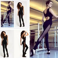 Wholesale Ladies Gauze Pants - wholesale 2016 Heat Sell Sexy Gauze Split Joint Lin Tai womens ladies Yoga balls Pants Woman Summer wear gym tights mesh lulu capri
