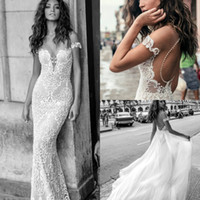 Wholesale julie vino wedding dresses - Julie Vino Mermaid Wedding Dresses Detachable Train Off Shoulder Sweep Train Backless Lace Wedding Dress Applique Pearls Cheap Bridal Gown